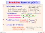predictive power of pqcd