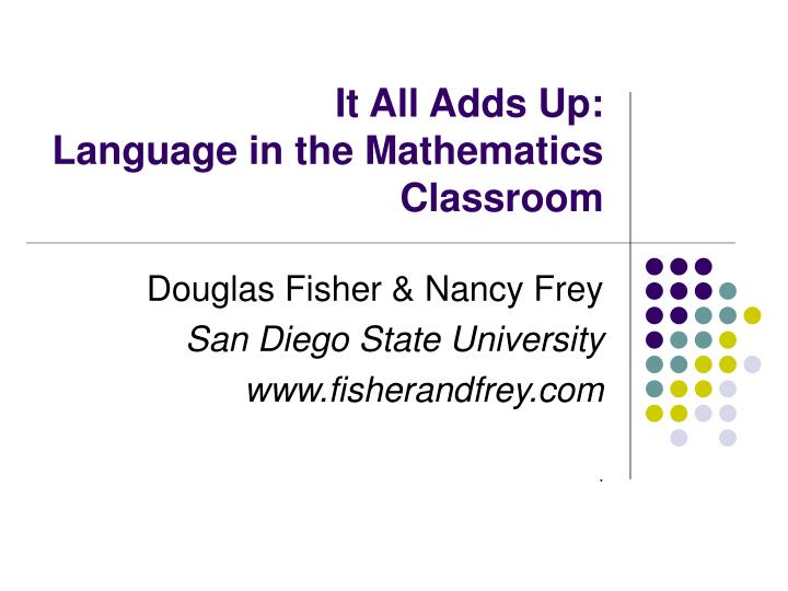 it all adds up language in the mathematics classroom n.