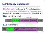 esp security guarantees
