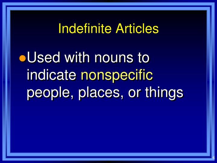 Indefinite Articles