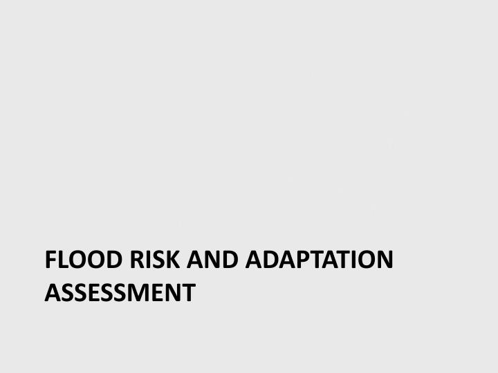 FLOOD RISK And adaptation assessment