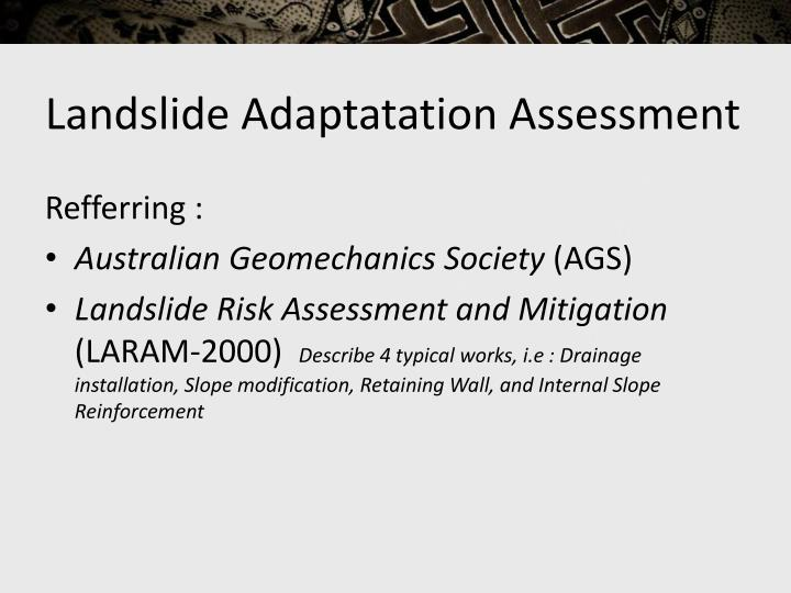 Landslide Adaptatation Assessment