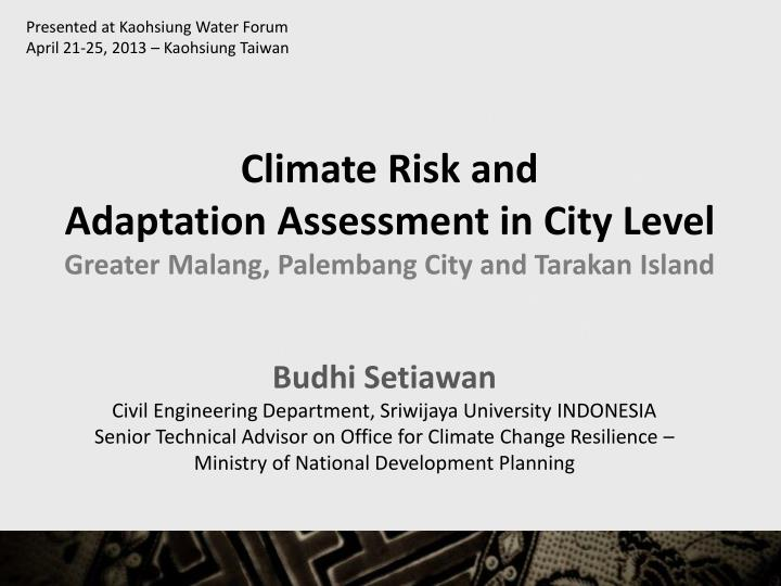 Presented at Kaohsiung Water Forum