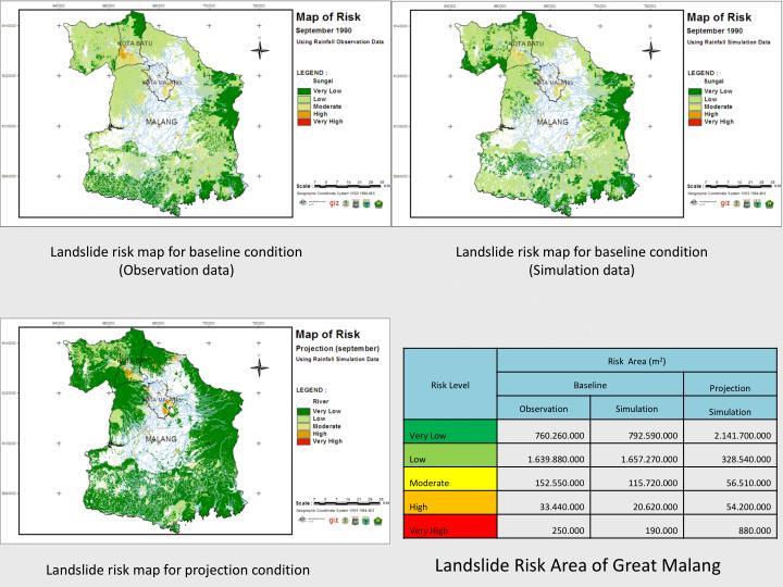 Landslide risk map for baseline condition