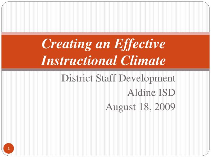creating an effective instructional climate n.