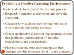 providing a positive learning environment