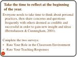 take the time to reflect at the beginning of the year
