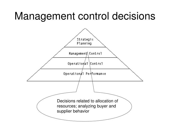 Management control decisions