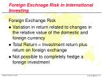 foreign exchnage risk in international investing