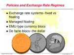 policies and exchange rate regimes