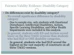 fairness validity evidence disability category