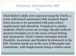 summary statement for iep