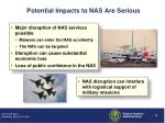 potential impacts to nas are serious