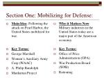 section one mobilizing for defense