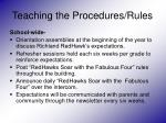teaching the procedures rules