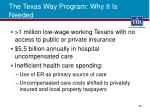 the texas way program why it is needed