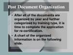 post document organization