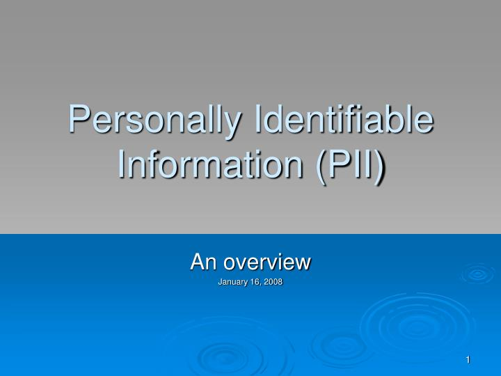 personally identifiable information pii n.