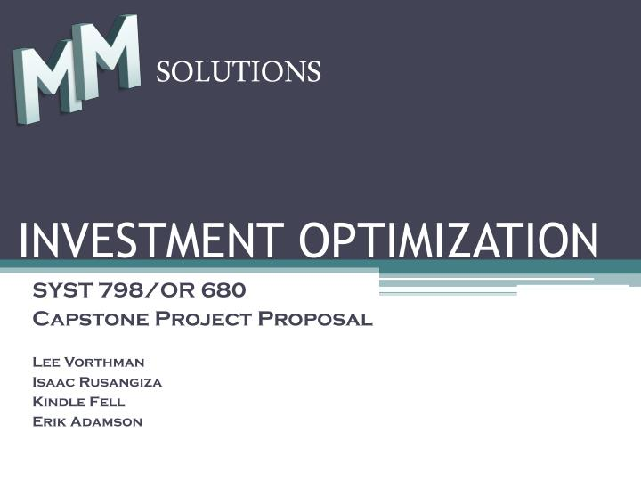 investment optimization n.