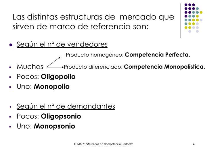 Las distintas estructuras de  mercado que sirven de marco de referencia son: