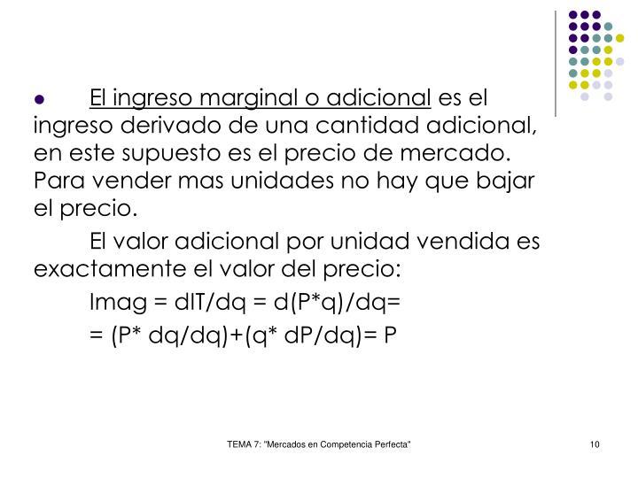 El ingreso marginal o adicional