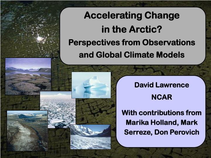 accelerating change in the arctic perspectives from observations and global climate models n.