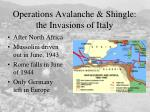 operations avalanche shingle the invasions of italy