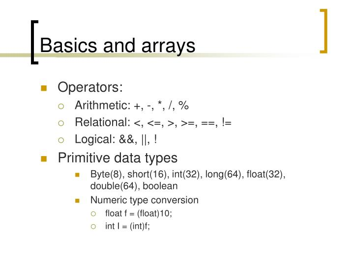 basics and arrays n.