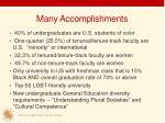 many accomplishments