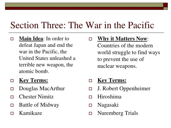 section three the war in the pacific n.