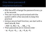 one time password implementations
