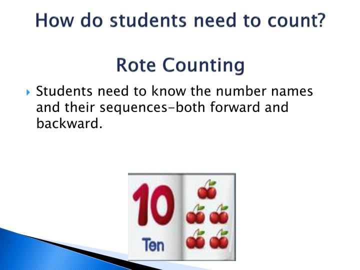 How do students need to count?
