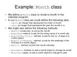 example month class