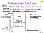 call return linkage stack frames