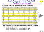 logic representation truth table for next state output