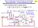 step 4 determine control points for the single cycle data path control signals for load