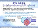 etsi isg ins identity access management for nw and services