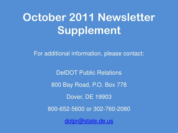 october 2011 newsletter supplement n.