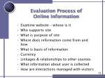 evaluation process of online information