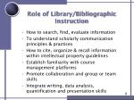 role of library bibliographic instruction