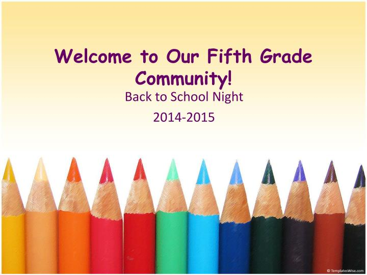 welcome to our fifth grade community n.