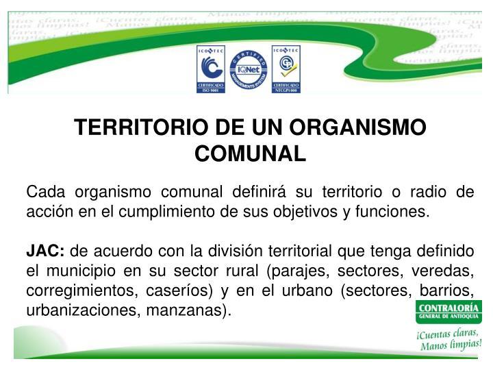 TERRITORIO DE UN ORGANISMO COMUNAL