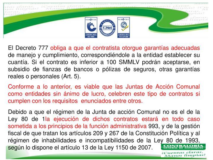 El Decreto 777