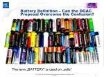 battery definition can the dgac proposal overcome the confusion1