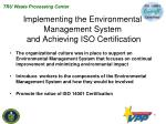 implementing the environmental management system and achieving iso certification