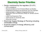 electricity sector priorities