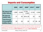 imports and consumption
