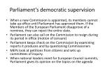 parliament s democratic supervision