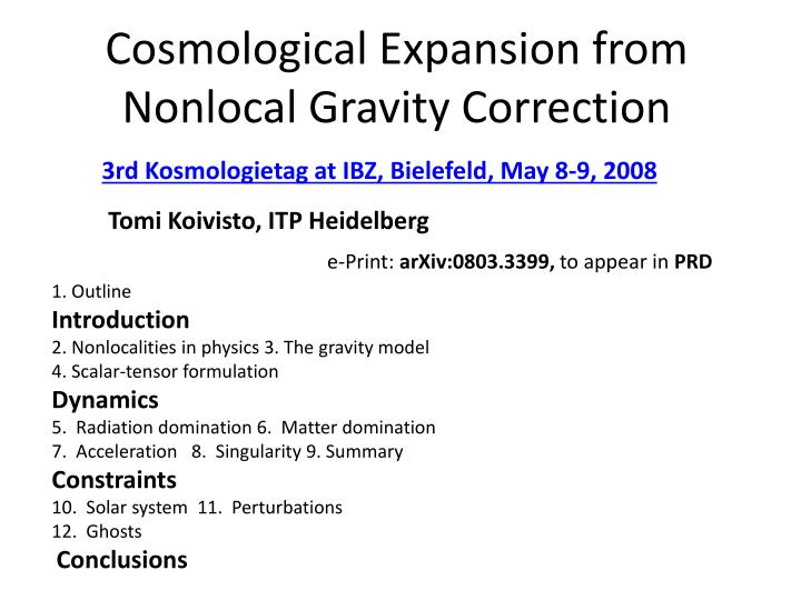 cosmological expansion from nonlocal gravity correction n.