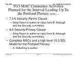 tg3 mac committee activities planned for the interval leading up to the portland plenary cont1